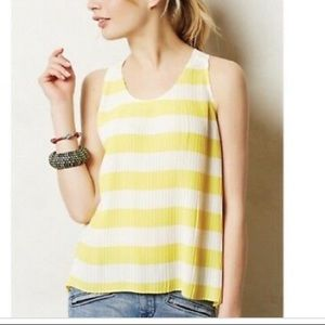 Maeve yellow/white pleated blouse